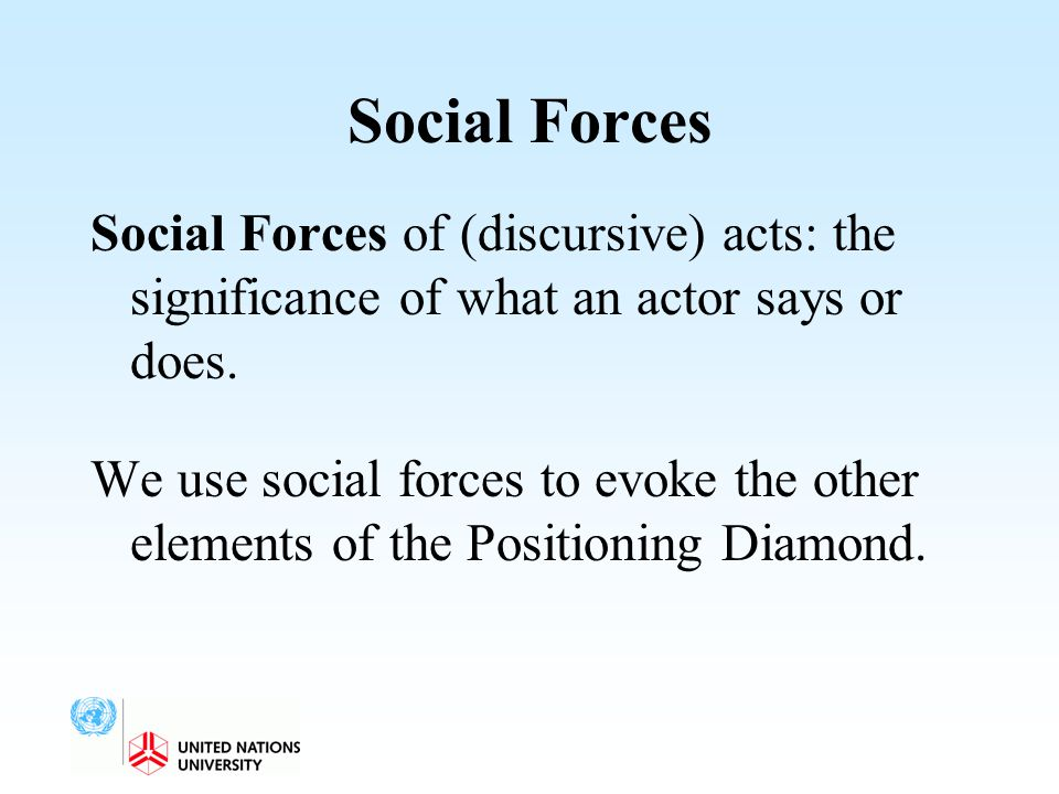 Social Forces Social Forces of (discursive) acts: the significance of what an actor says or does.
