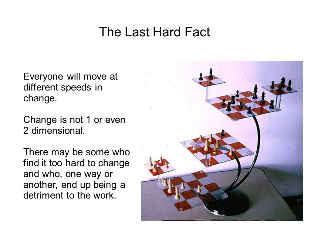 The Last Hard Fact Everyone will move at different speeds in change.