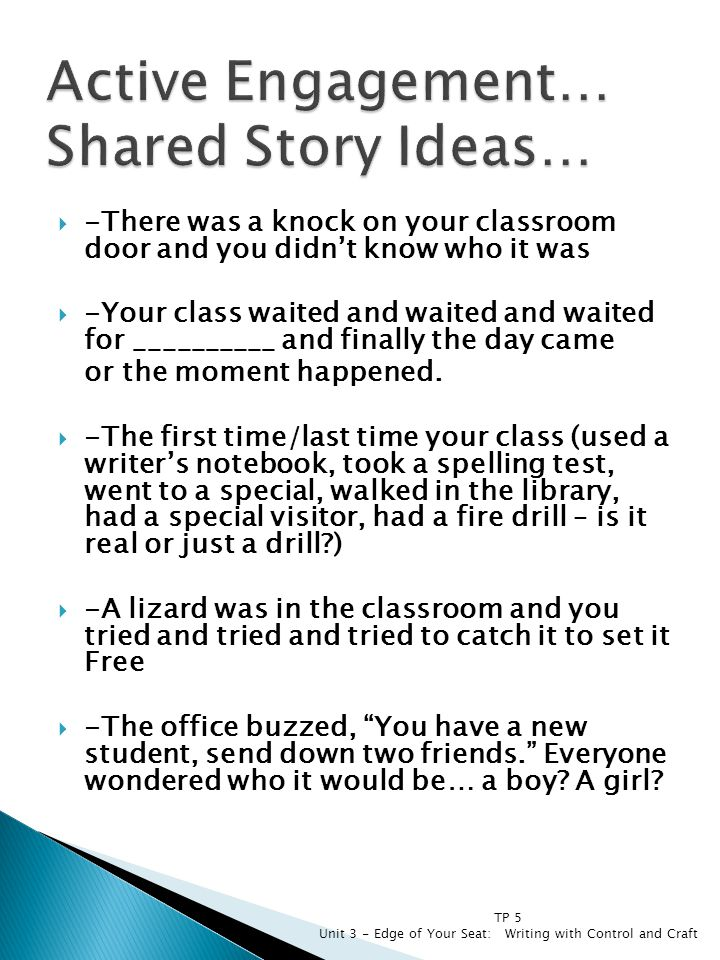 Active Engagement… Shared Story Ideas…