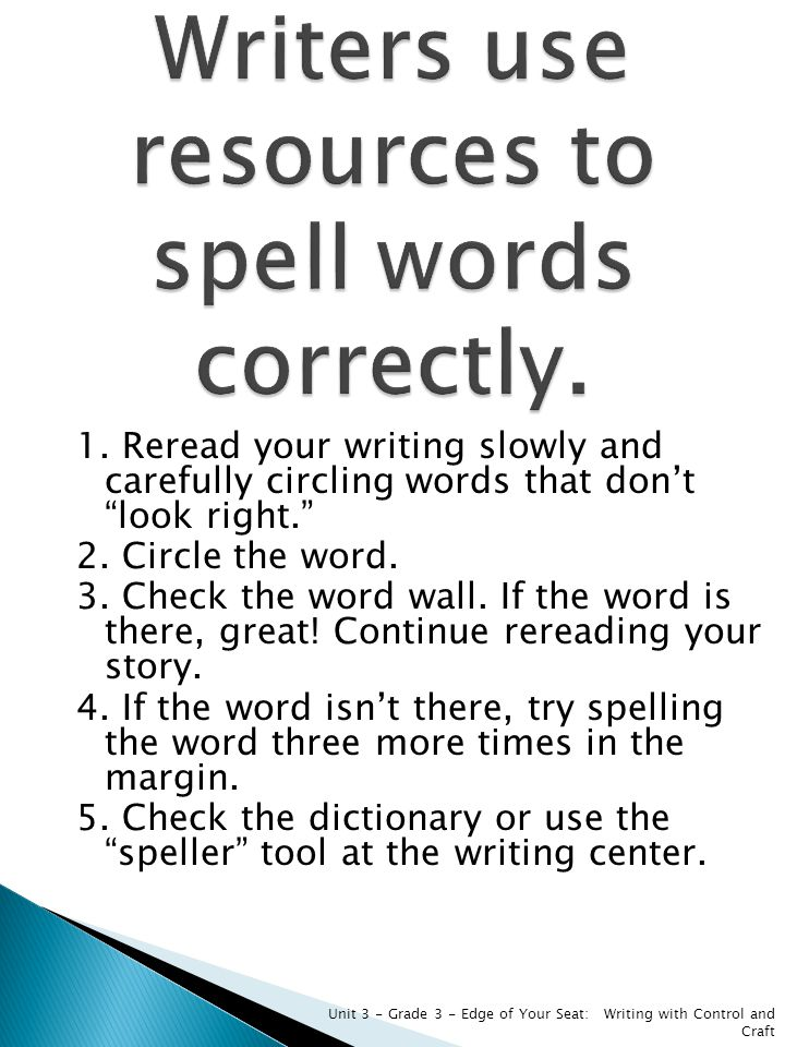 Writers use resources to spell words correctly.