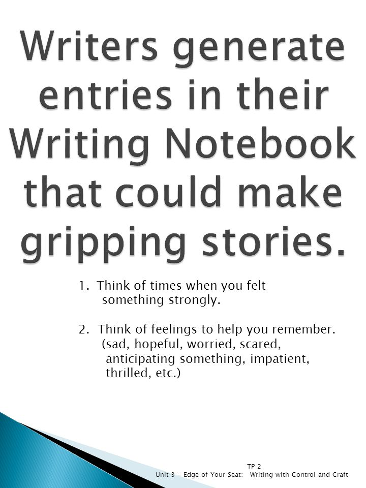 Writers generate entries in their Writing Notebook that could make gripping stories.
