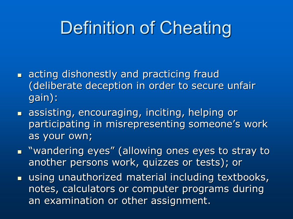 Definition of Cheating