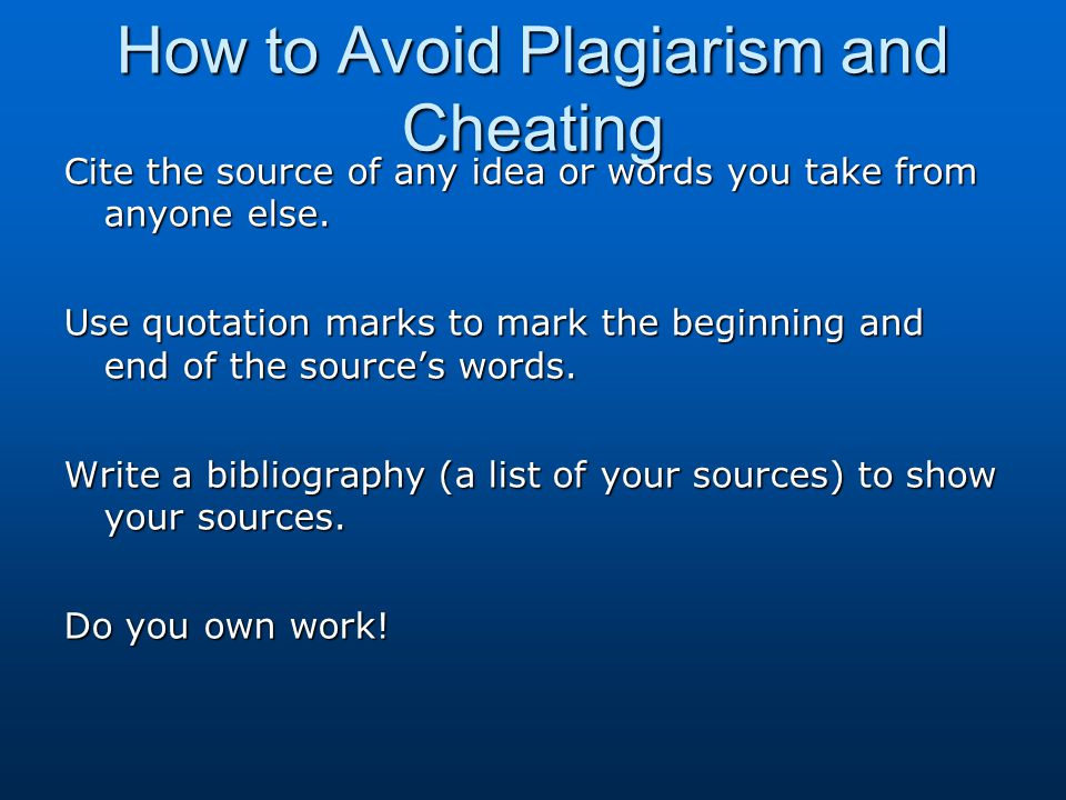 How to Avoid Plagiarism and Cheating