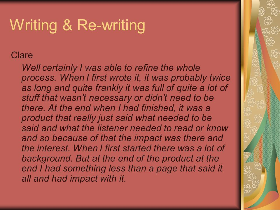 Writing & Re-writing Clare