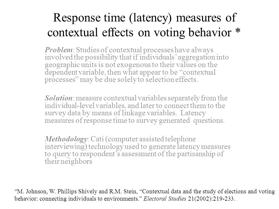 Response time (latency) measures of contextual effects on voting behavior *