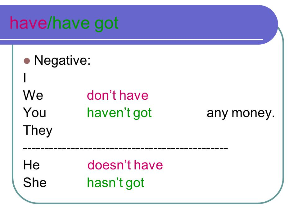 have/have got Negative: I We don't have You haven't got any money.