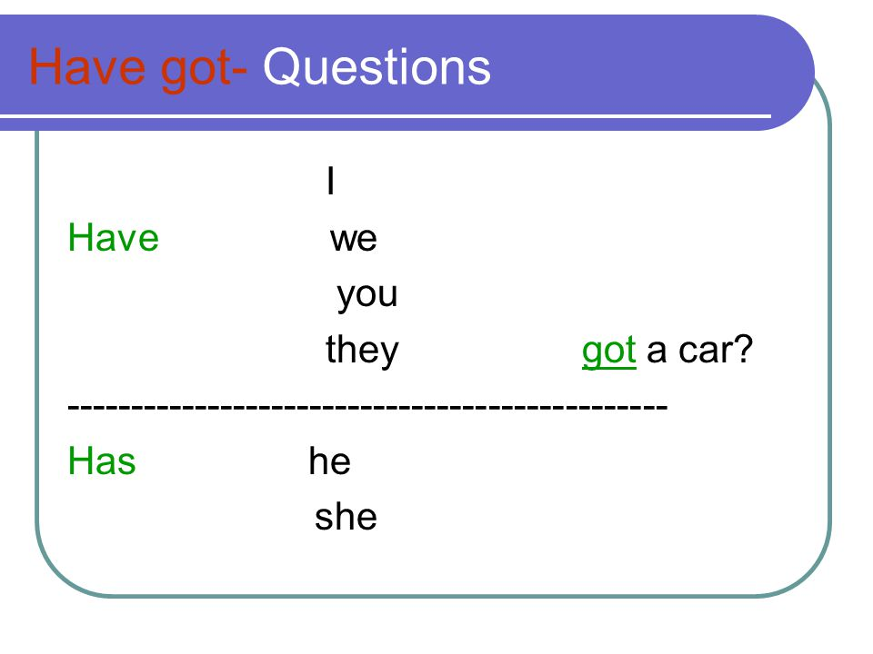 Have got- Questions I Have we you they got a car