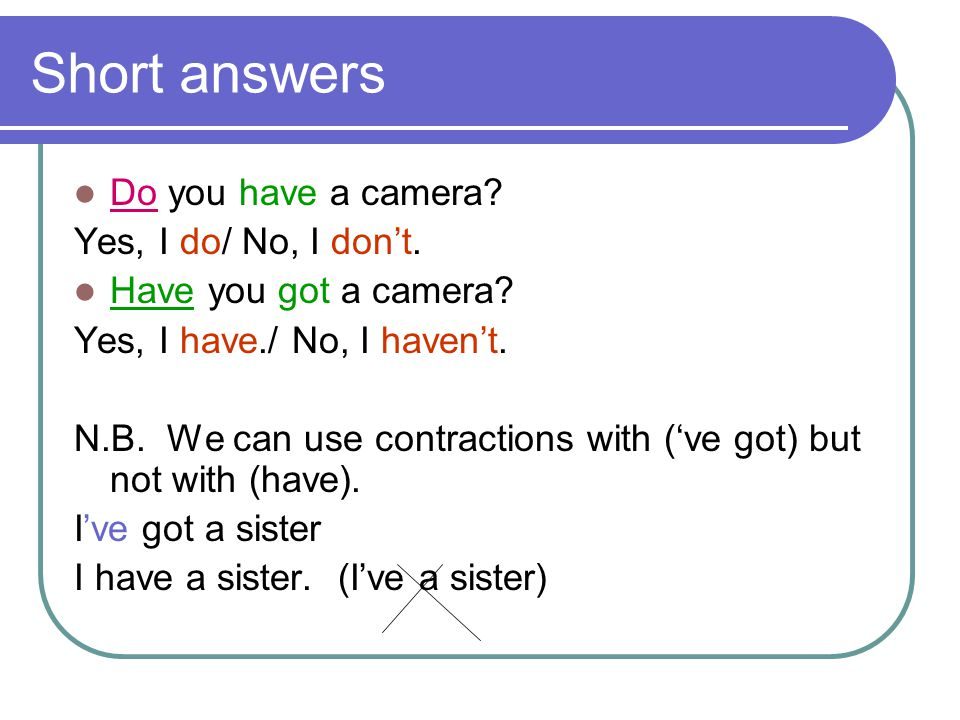 Short answers Do you have a camera Yes, I do/ No, I don't.