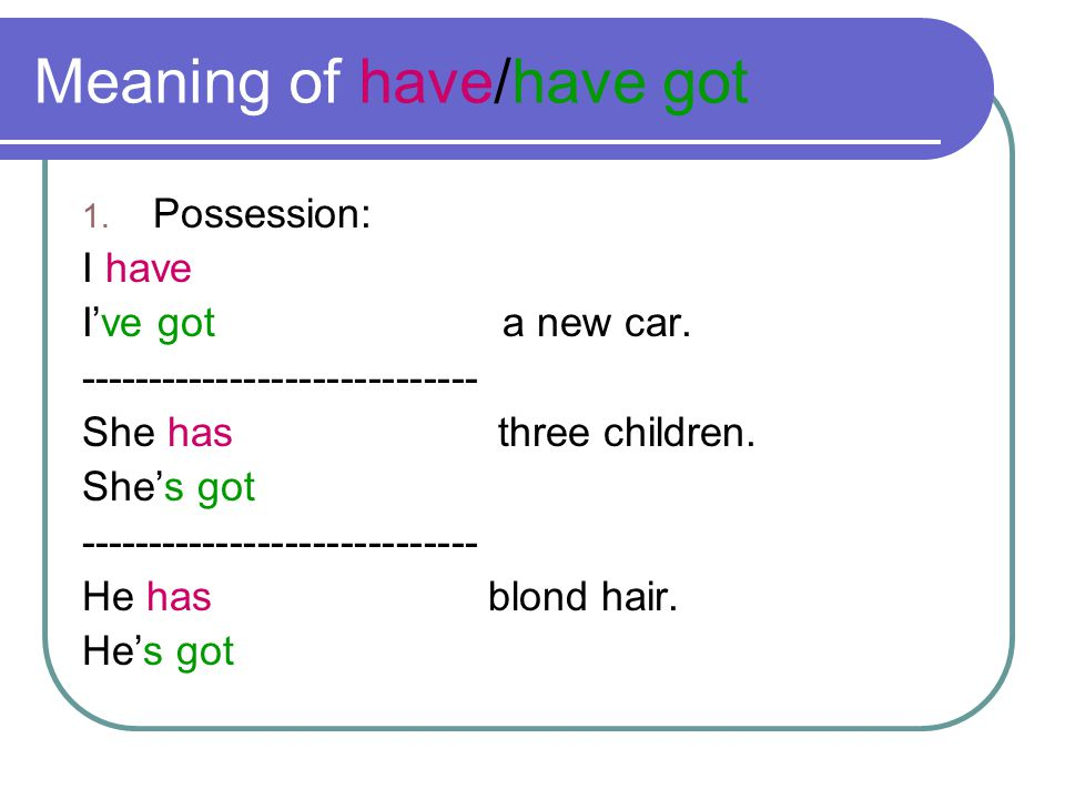 Meaning of have/have got