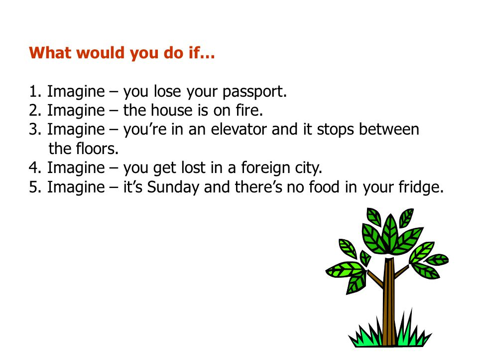 What would you do if… 1. Imagine – you lose your passport. 2. Imagine – the house is on fire.