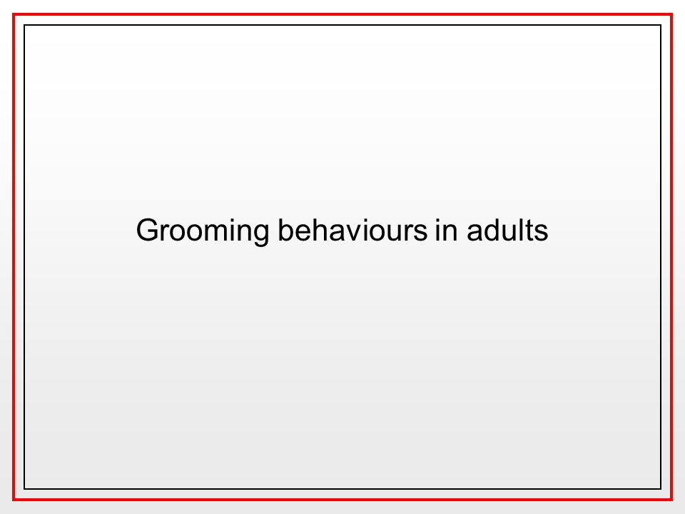Grooming behaviours in adults