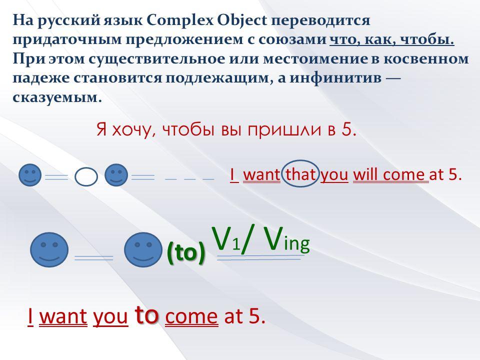 V1/ Ving (to) I want you to come at 5. Я хочу, чтобы вы пришли в 5.
