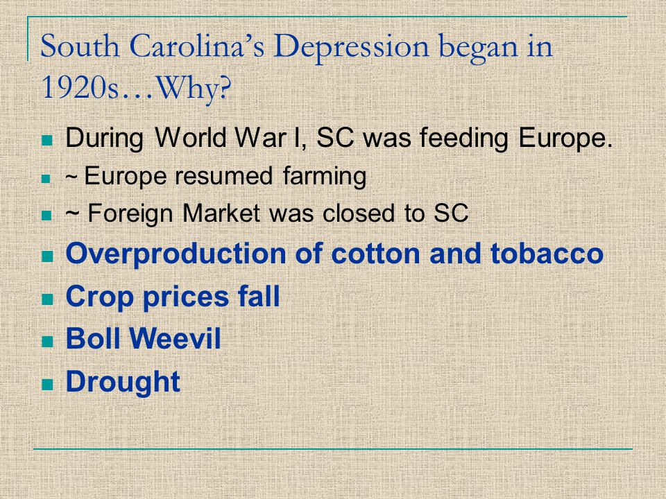 South Carolina's Depression began in 1920s…Why