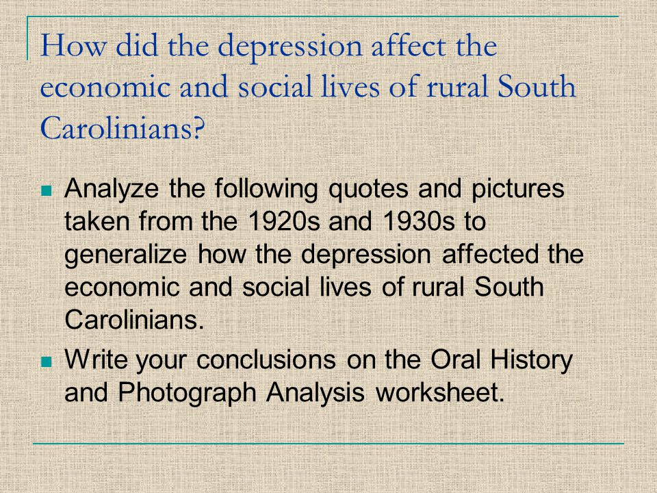 How did the depression affect the economic and social lives of rural South Carolinians