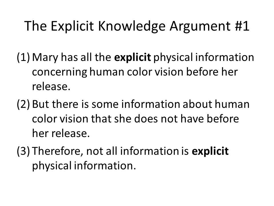 The Explicit Knowledge Argument #1