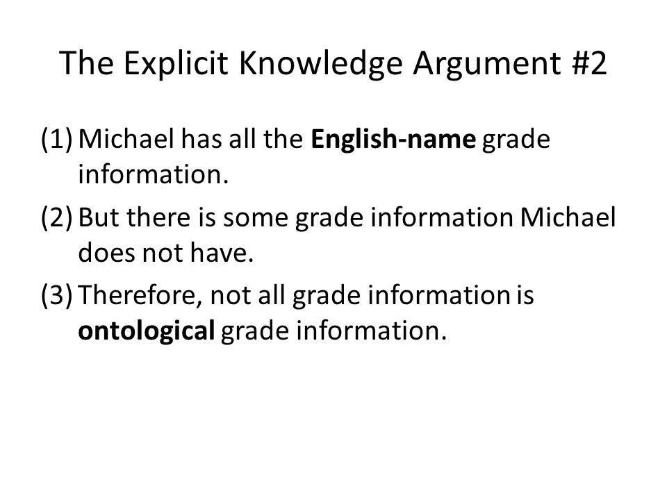 The Explicit Knowledge Argument #2