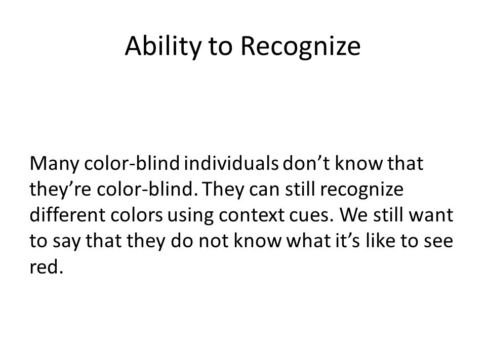 Ability to Recognize