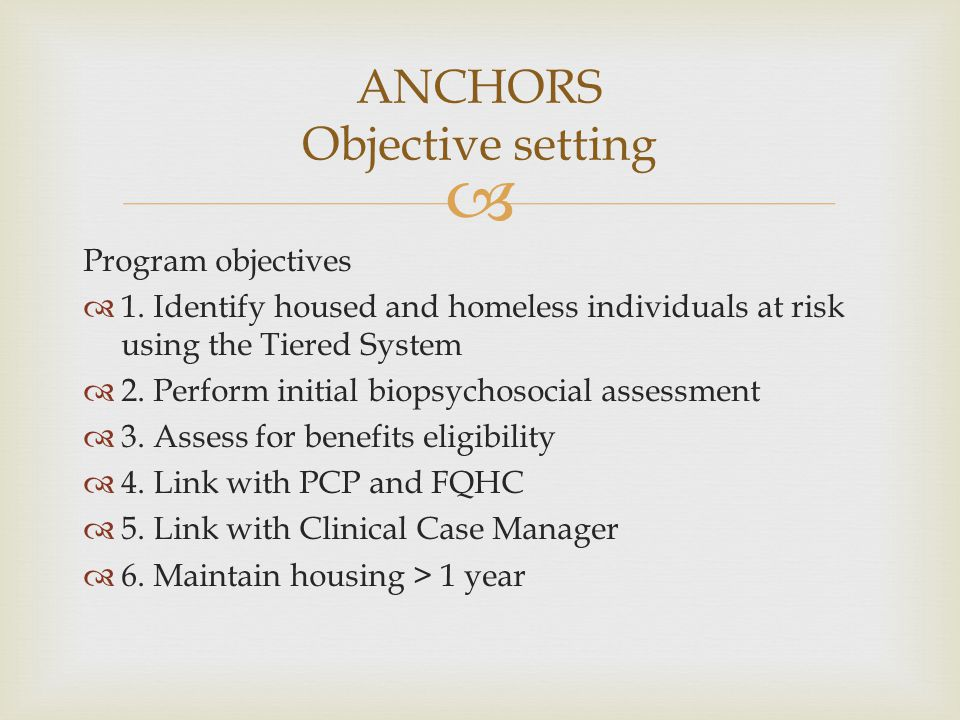 ANCHORS Objective setting