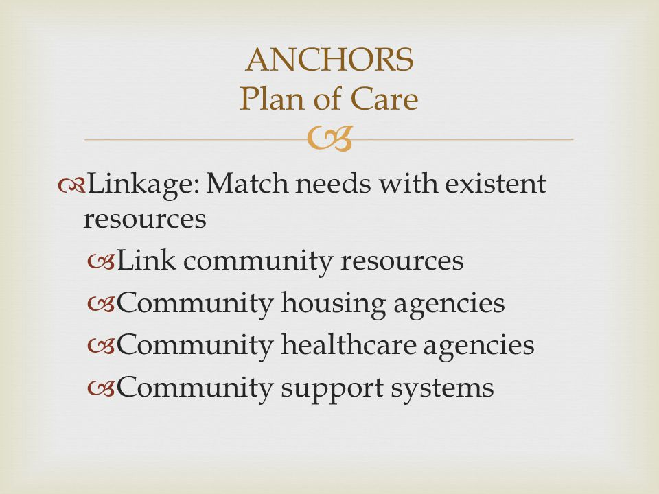 ANCHORS Plan of Care Linkage: Match needs with existent resources