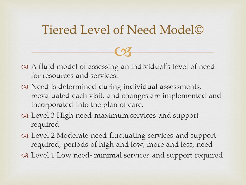 Tiered Level of Need Model©