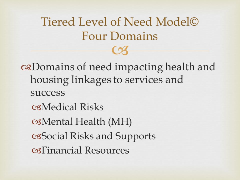 Tiered Level of Need Model© Four Domains