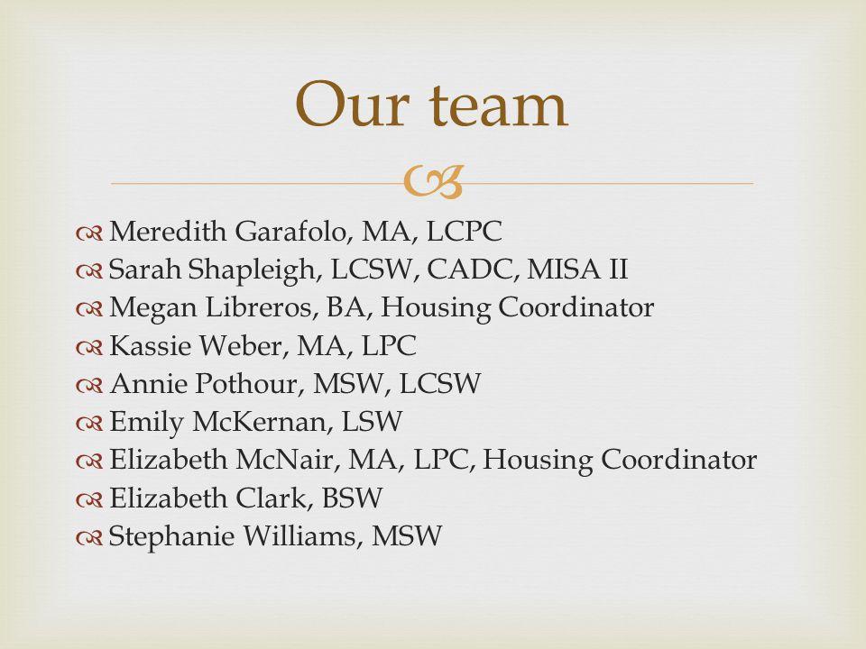 Our team Meredith Garafolo, MA, LCPC