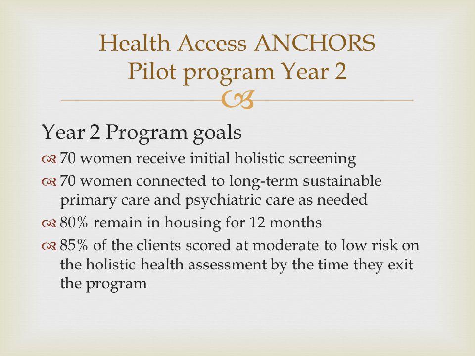 Health Access ANCHORS Pilot program Year 2