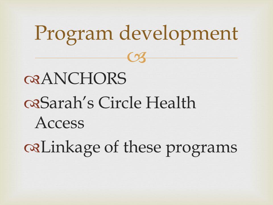 Program development ANCHORS Sarah's Circle Health Access