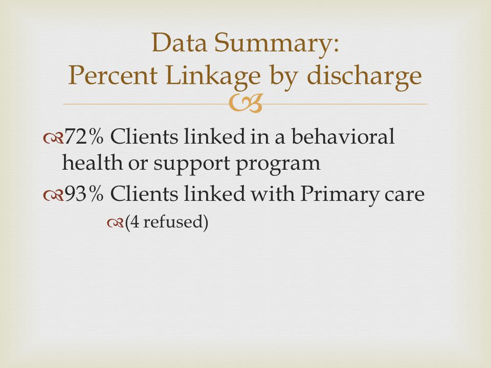 Data Summary: Percent Linkage by discharge
