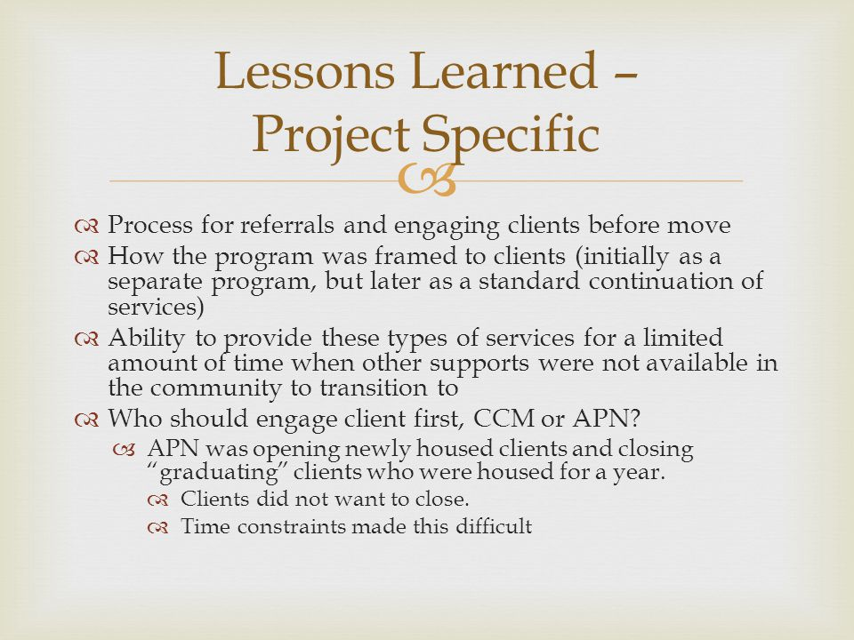 Lessons Learned – Project Specific