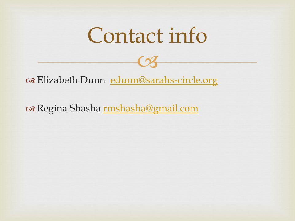 Contact info Elizabeth Dunn edunn@sarahs-circle.org Regina Shasha rmshasha@gmail.com