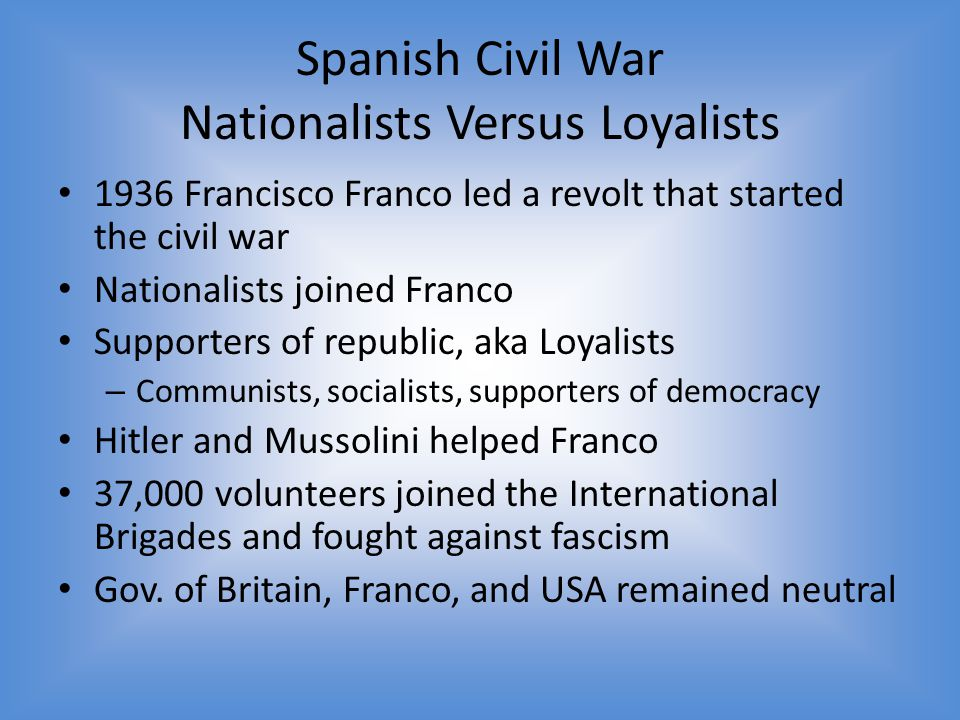 Spanish Civil War Nationalists Versus Loyalists
