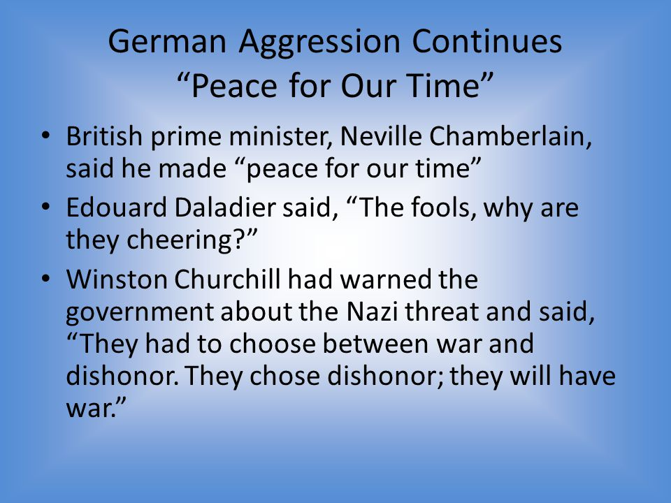 German Aggression Continues Peace for Our Time
