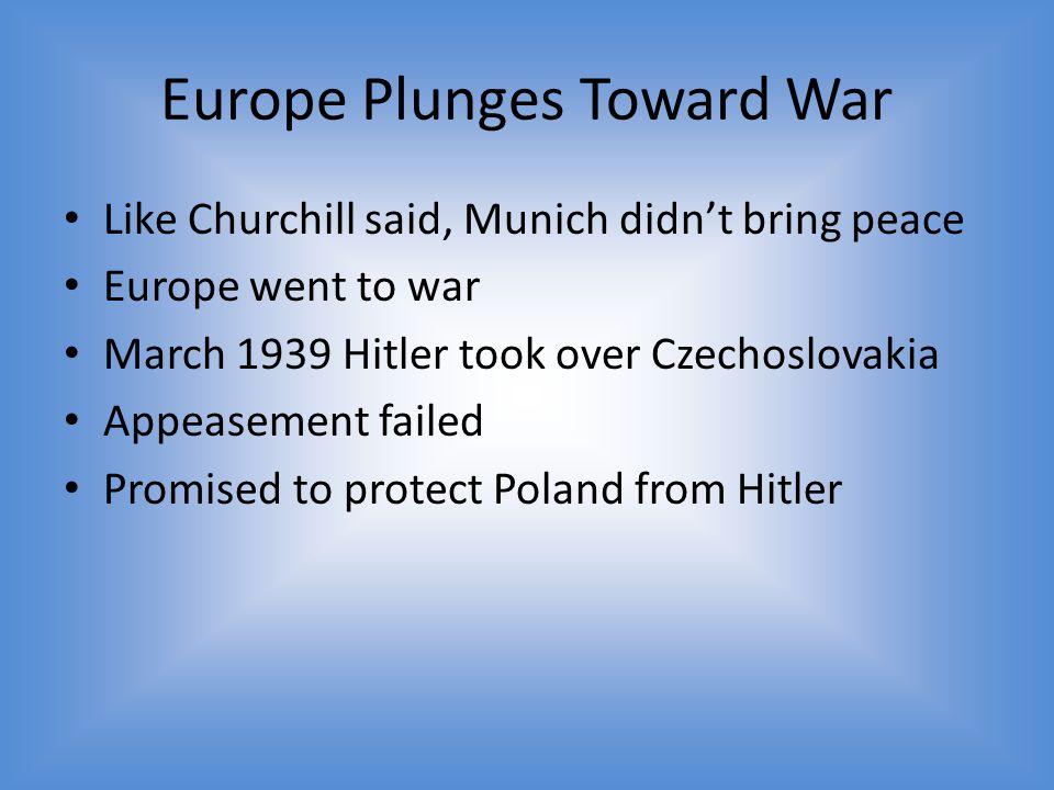 Europe Plunges Toward War
