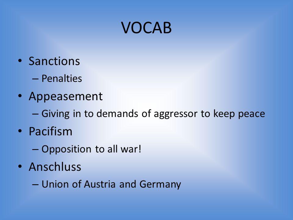 VOCAB Sanctions Appeasement Pacifism Anschluss Penalties