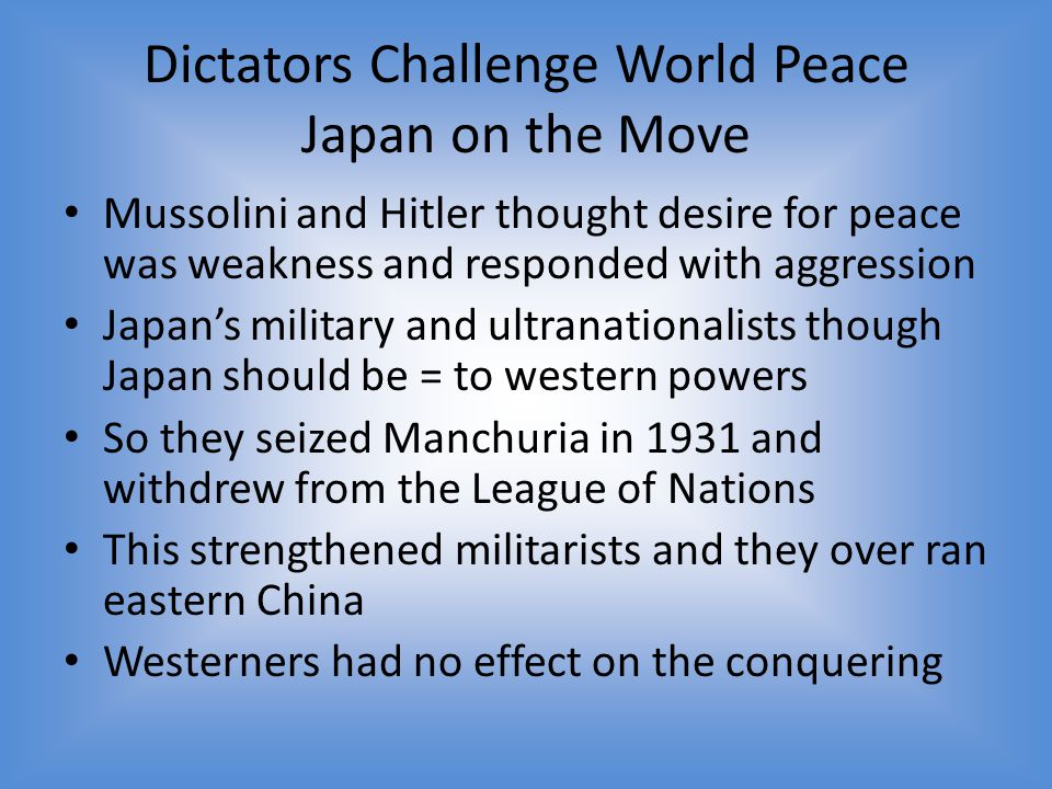 Dictators Challenge World Peace Japan on the Move