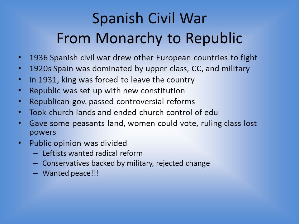 Spanish Civil War From Monarchy to Republic