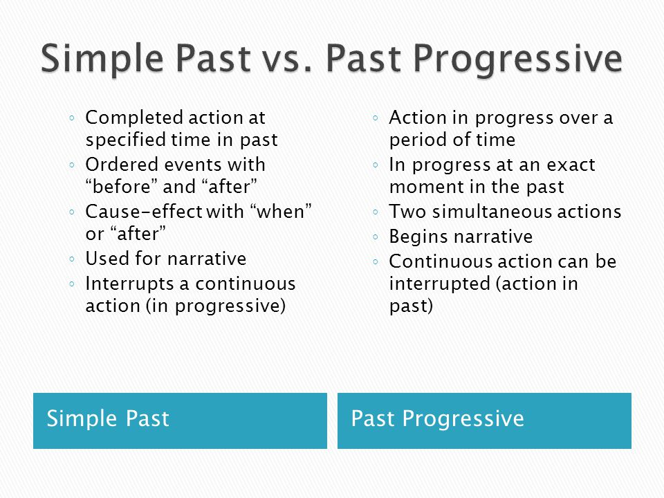 Simple Past vs. Past Progressive