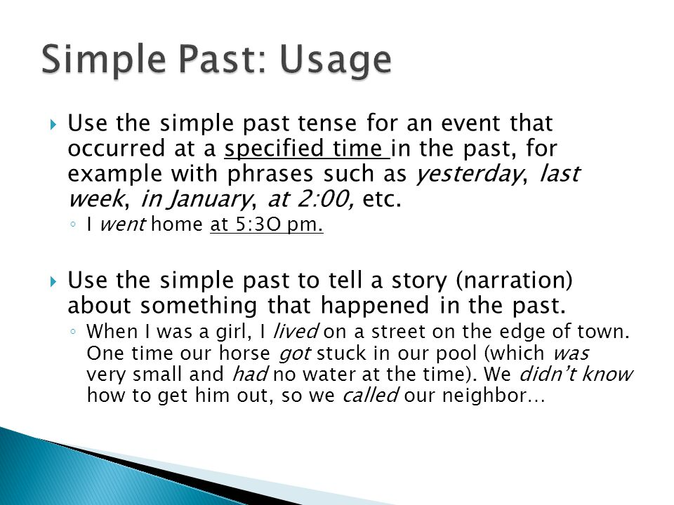 Simple Past: Usage