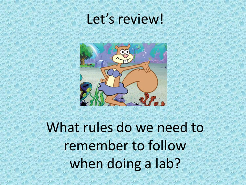 What rules do we need to remember to follow when doing a lab