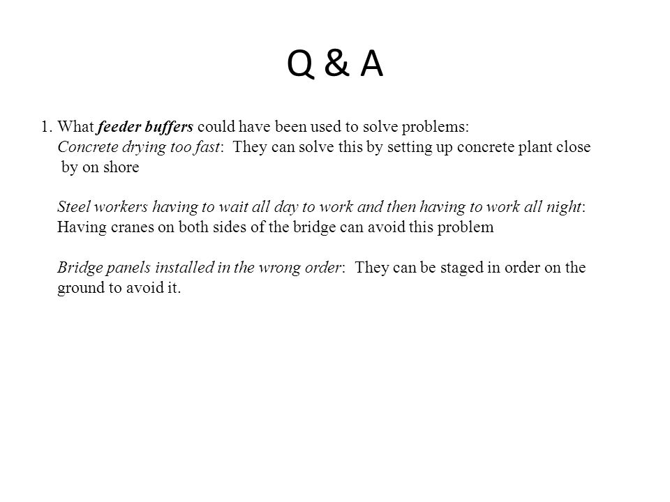 Q & A 1. What feeder buffers could have been used to solve problems: