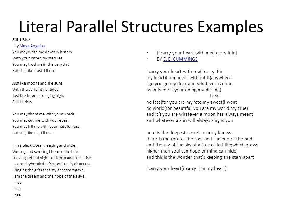 Literal Parallel Structures Examples