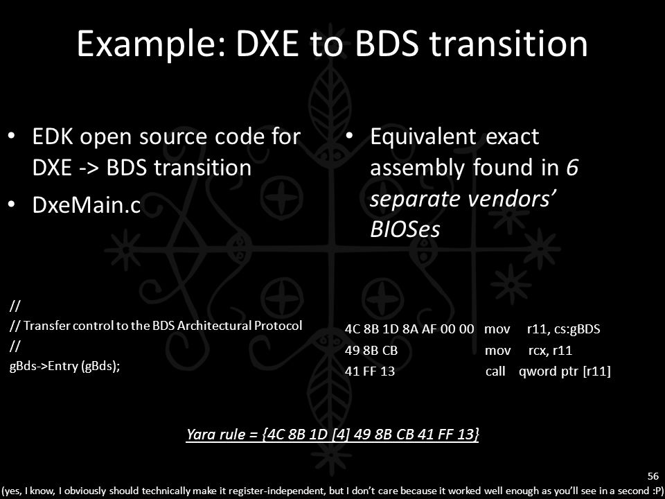 Example: DXE to BDS transition