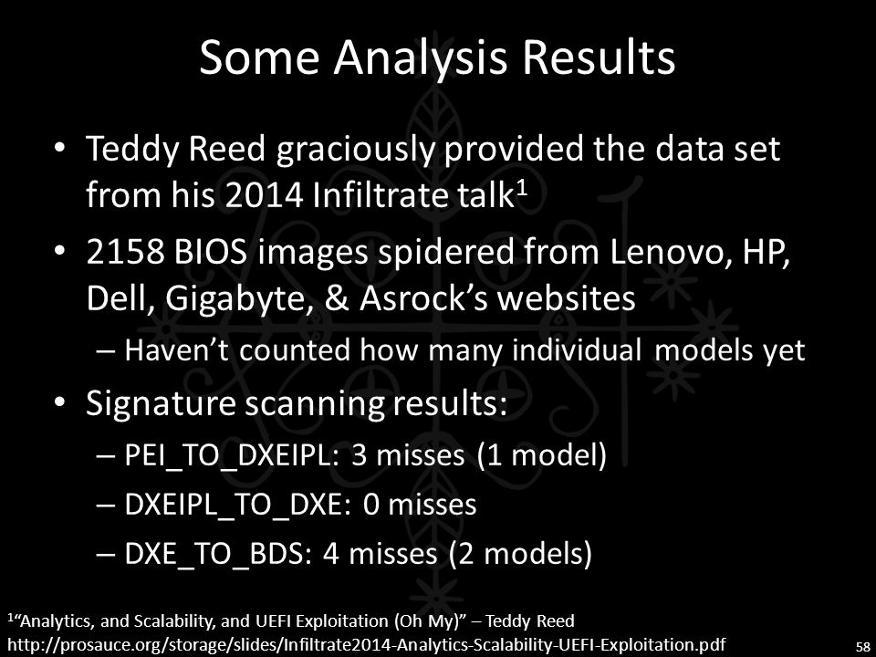 Some Analysis Results Teddy Reed graciously provided the data set from his 2014 Infiltrate talk1.