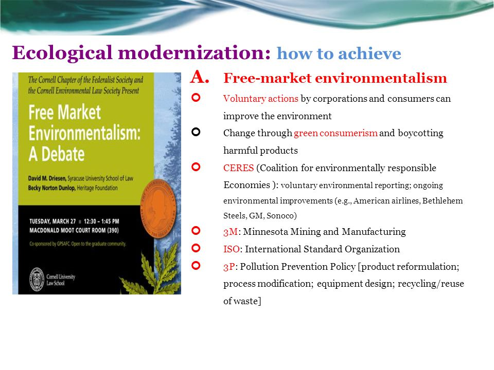 Ecological modernization: how to achieve