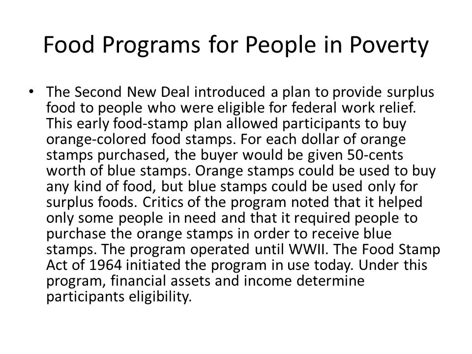 Food Programs for People in Poverty