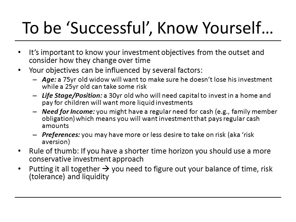To be 'Successful', Know Yourself…