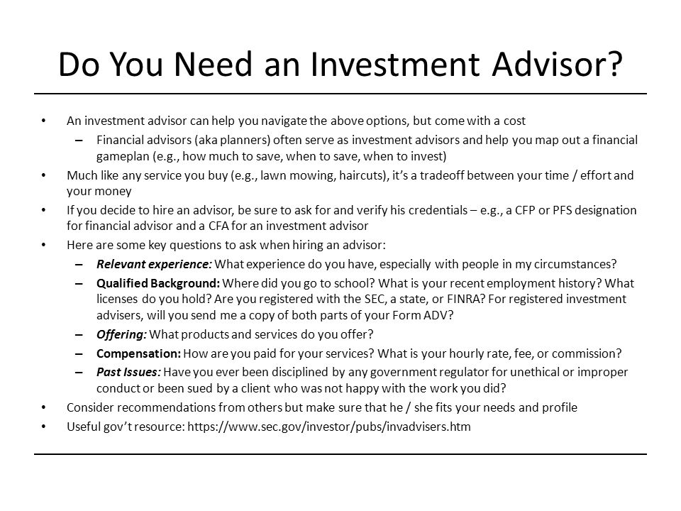Do You Need an Investment Advisor