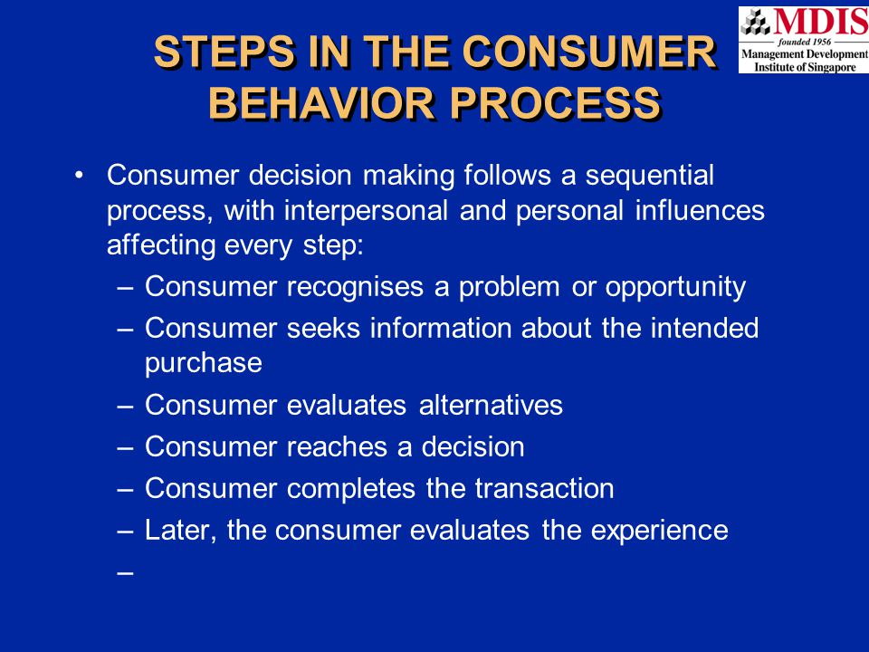 STEPS IN THE CONSUMER BEHAVIOR PROCESS