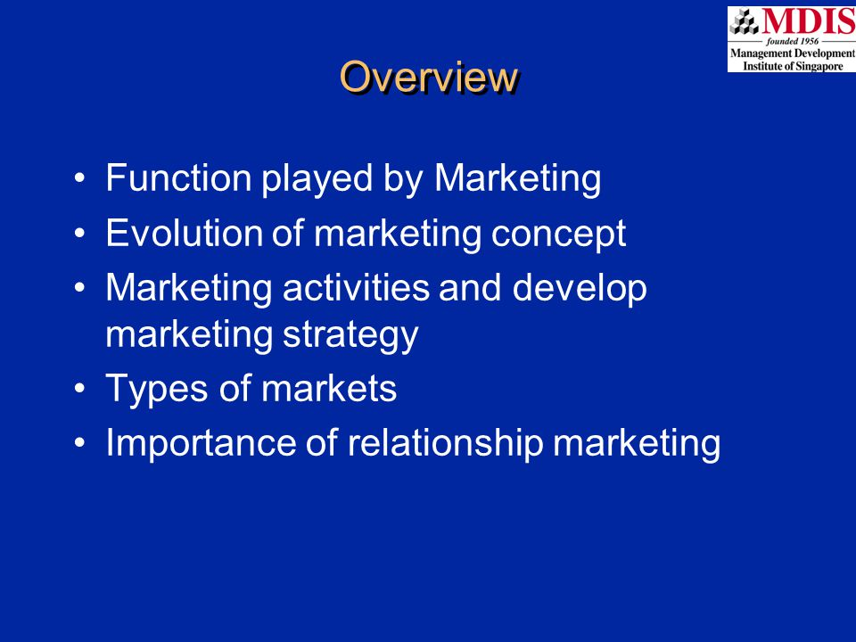 Overview Function played by Marketing Evolution of marketing concept